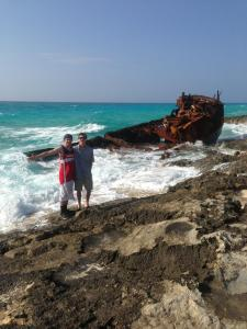 Seniors Joe Szarmach and Copper Bohm enjoy the beautiful view from their last Spring Break trip to Bimini, Bahamas. They visited a ship wreak that had lain off shore of the Island since 1926 when it was disabled during a hurricane. (Photo by Jacque Szarmach)